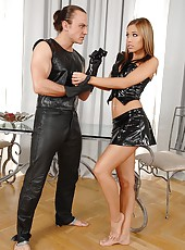 Satin Bloom gets spanked in latex