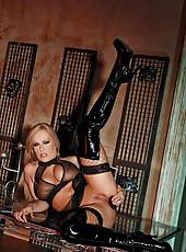 Blonde Jessica Moore poses in latex