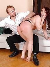 Naughty redhead gets spanked hard