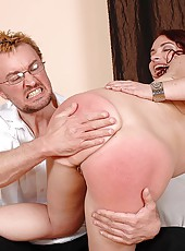 Naughty redhead gets spanked hard