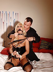 Hot bound blonde gets disciplined