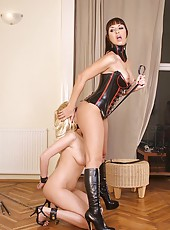 Bound & fucked lesbian latex babes