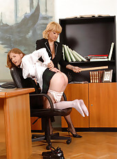Naughty schoolgirl's ass spanked