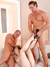 Leona Queen threesome footjob & DP!