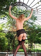Leigh Darby Teases In Black Nylons