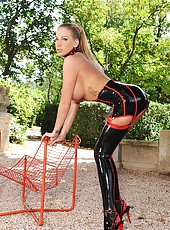 Hot Blonde In Black Latex Stockings