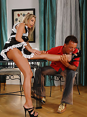Foxy French Maid Gives A Footjob