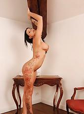Temptress In Sparkly White Heels