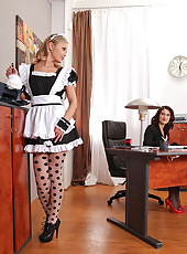 Office Babe & French Maid Suck Toes