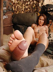 Footjob With One Socked One Bare