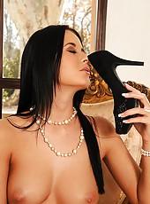 Babe Sniffs Her Sheer Black Nylons