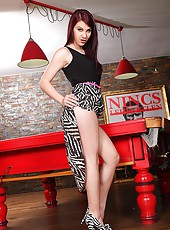 Babe Poses In Zebra Print Peep Toes