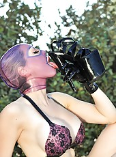 Latex Lucy In Black Platform Heels