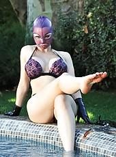 Latex Lucy In Black Platform Heels