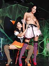 Girls Sucking On Striped Stockings
