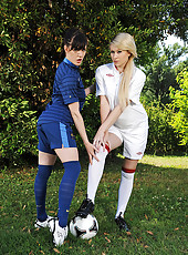 Flexible starlets playing ball