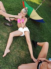 Barefoot college lesbian threesome
