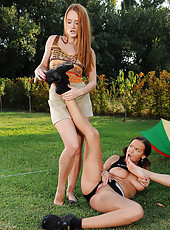 Barefoot college lesbian threesome