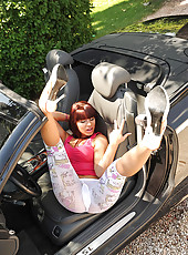 Perfect legs on a perfect Mercedes