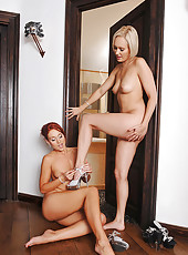 Club girls in naughty foot action!
