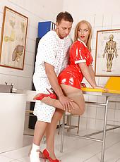 Nurse Kathia Nobili doing footjob