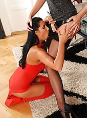 Lesbian foot fetish with strap-on