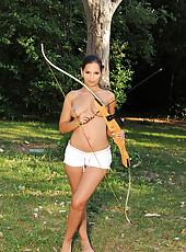 Eve Angel naked barefoot archery