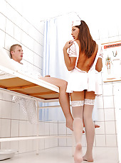 Hot nasty nurse Zafira does footjob