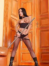 Hot whore Mya Diamond in fishnets