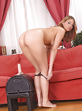Simony riding a Sybian until climax