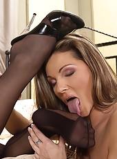 Caroline Cage & Kristy lick feet
