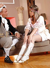 Footjob masquerade with Federica