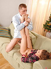 Johane Johansson doing a footjob