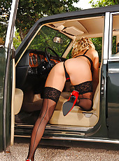 Horny blonde in stockings teasing