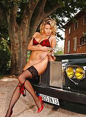 Horny blonde in stockings teasing