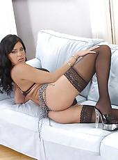 Claudia Ferari teasing in stockings