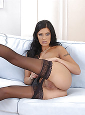 Claudia Ferari teasing in stockings