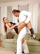 Blond babe gives a real hot footjob