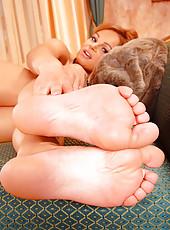 Sensual lesbian foot fetish play