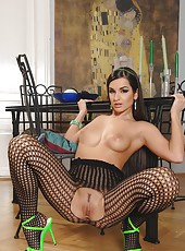 Ennie in a fishnet body stocking