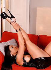 PVC clad Aria Giovanni in high heels