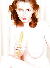 Elli Toys Her Pussy with Wooden Toy