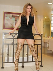 Faith In Thigh High Boots & Black Mini Dress