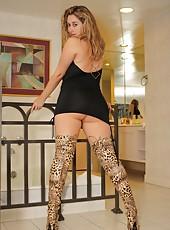 Faith In Thigh High Boots & Black Mini Dress