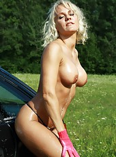 Fit MILF Ivy Washing Her Car In Bikini