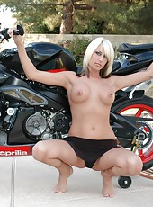Amya Naked on an Aprilia
