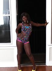 Ebony teen Prada stroking big white boner